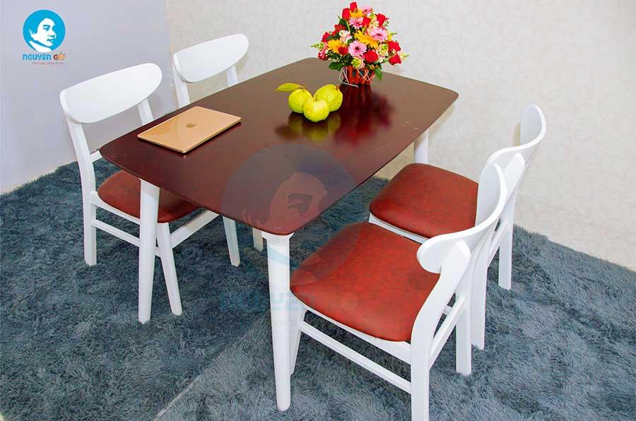 Bộ bàn ăn gia đình 4 ghế giá rẻ Mango - Nâu chân trắng-1