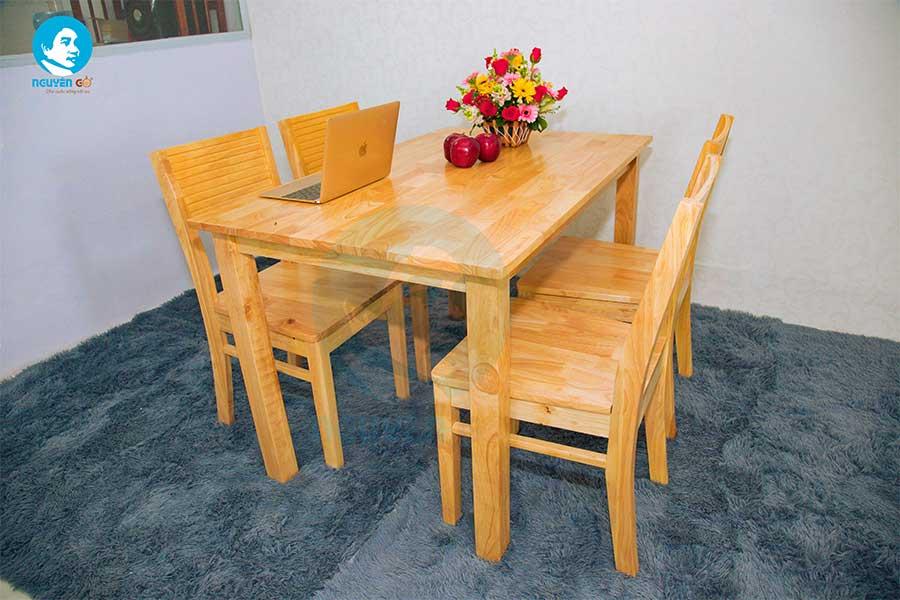 Bộ bàn ăn gia đình giá rẻ 4 ghế Cherry - Màu tự nhiên 4