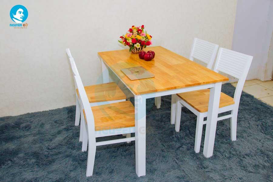 Bộ bàn ăn gia đình giá rẻ 4 ghế Cherry - Màu Trắng