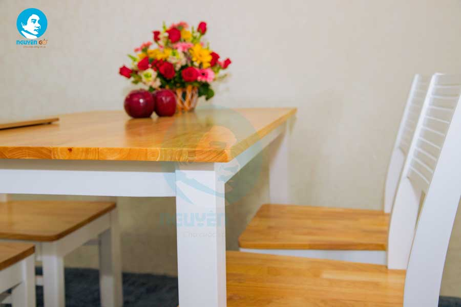 Bộ bàn ăn gia đình giá rẻ 4 ghế Cherry - Màu Trắng 4