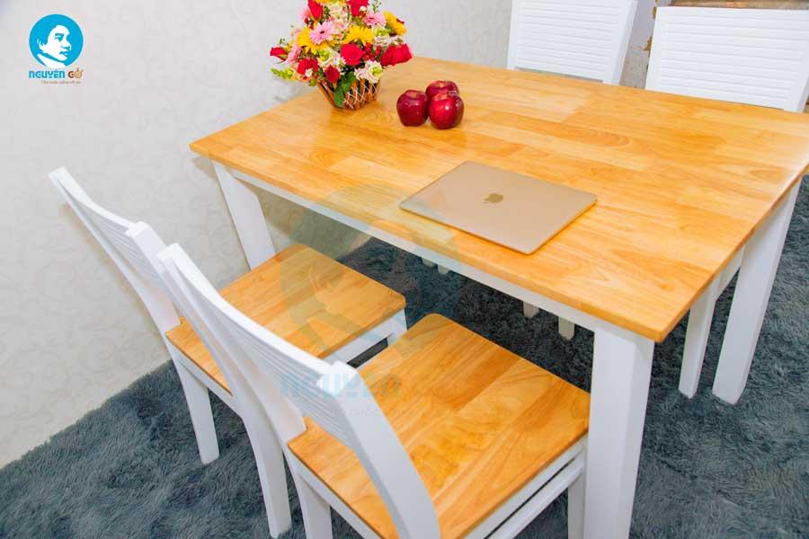 Bộ bàn ăn gia đình giá rẻ 4 ghế Cherry - Màu Trắng 3