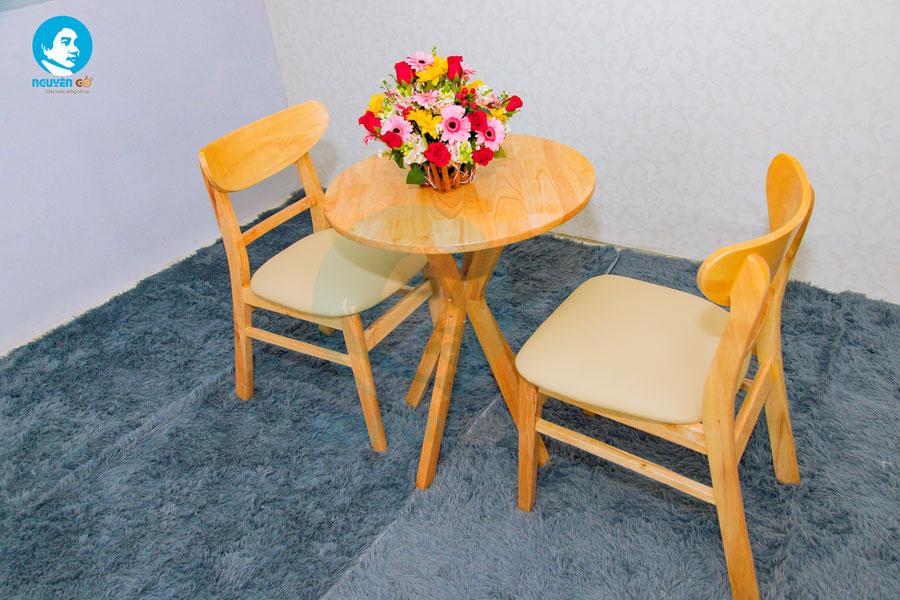 Bàn cafe tròn 2 ghế chân chụm - Màu tự nhiên 2