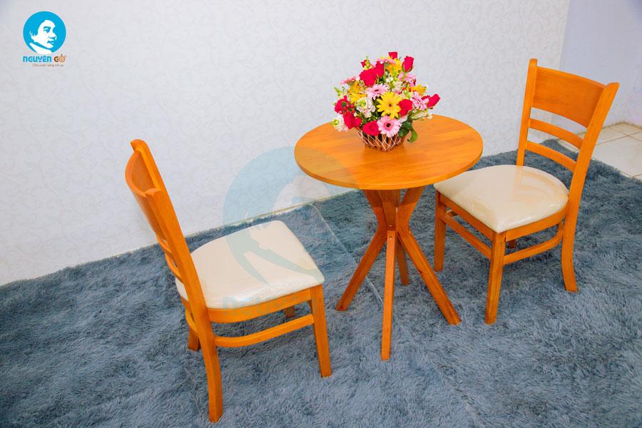 Bàn cafe tròn 2 ghế chân chụm - Màu cam 1