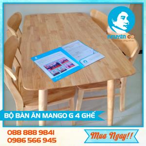 Bo ban an mango go 100% mau tu nhien